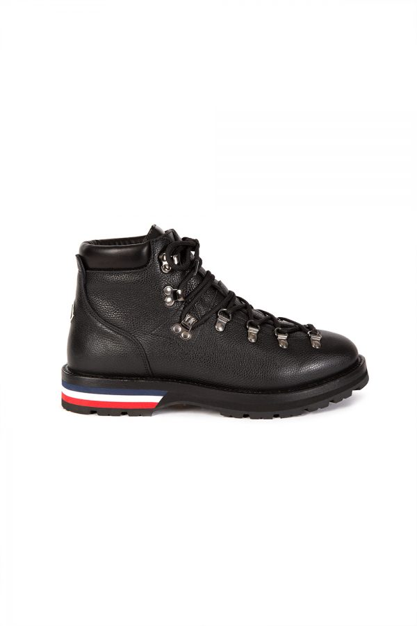 Moncler Peak Leather Ankle Boots Men's Black