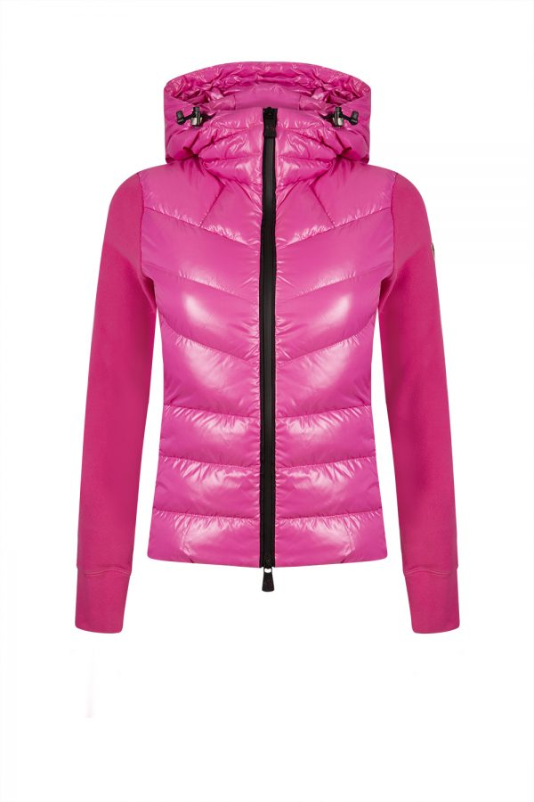 Moncler Grenoble Women's Maglia Padded Down Quilted Cardigan Pink