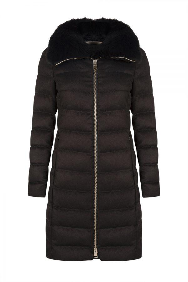 Herno Women's Cashmere Fur Lined Coat Black