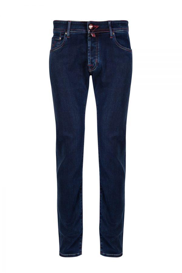 Jacob Cohën J622 Red Leather Men's Luxury Denim Jeans Blue