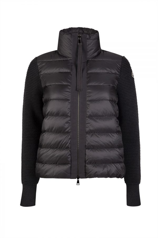 Moncler Women's Maglione Tricot Card Down Quilted Front Hoodie Black