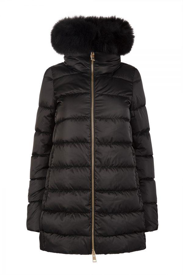 High-neck padded down-shell satin coat