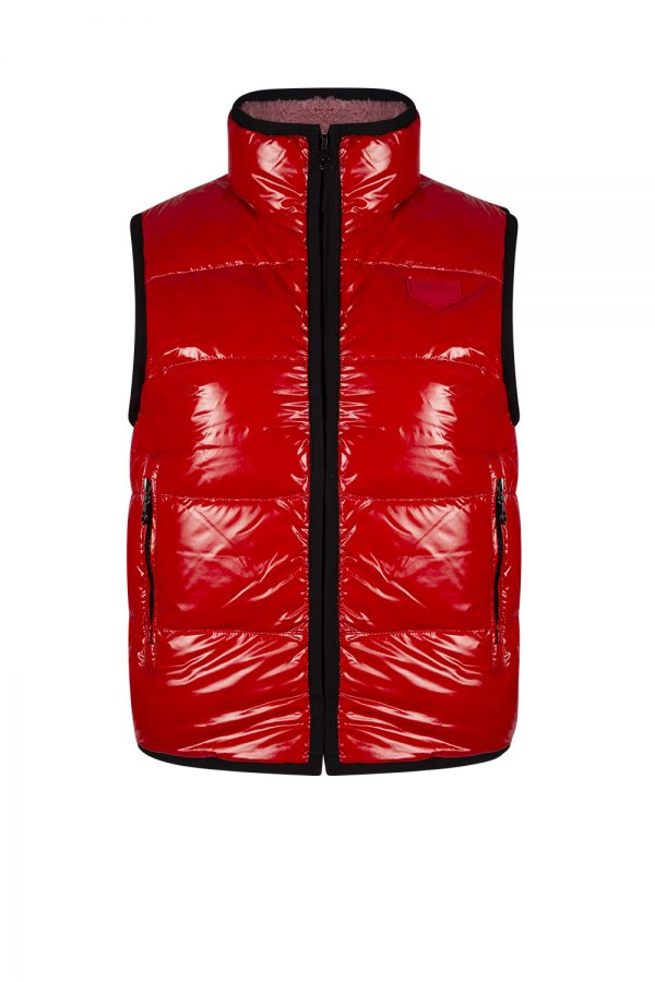 Duvetica Grumium Ladies Reversible Down Gilet Fleece Red