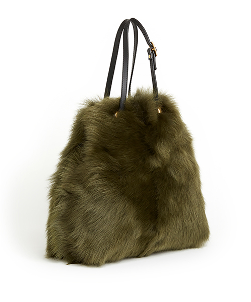 ki:ts Tie Shopper Olive Shearling (Long Wool Lambskin)
