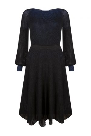 Blumarine Women's Lamé knitted Flared Dress Blue