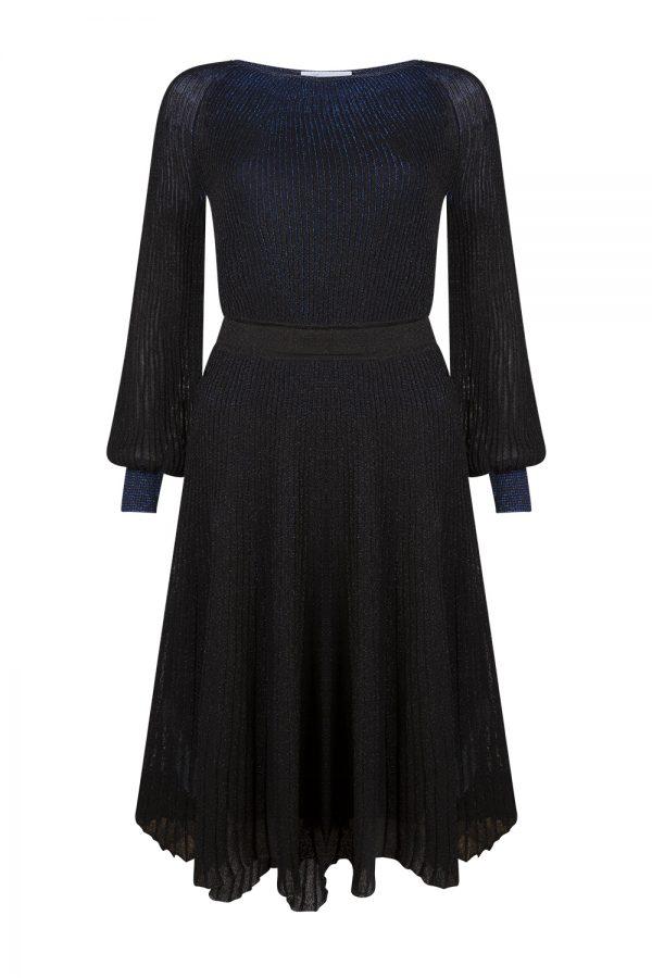 Blumarine Women's Lamé knitted Flared Dress Blue