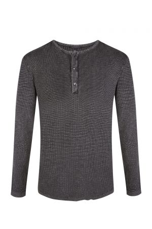 John Varvatos Men's Nashville Waffle Henley Charcoal Grey