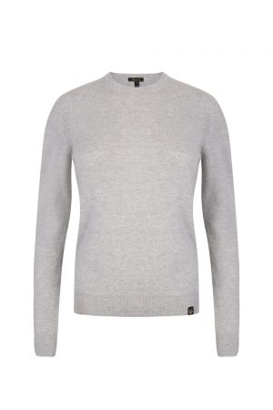 Belstaff Men's Engineered Crew Neck Light Grey Melange - New W19 Collection
