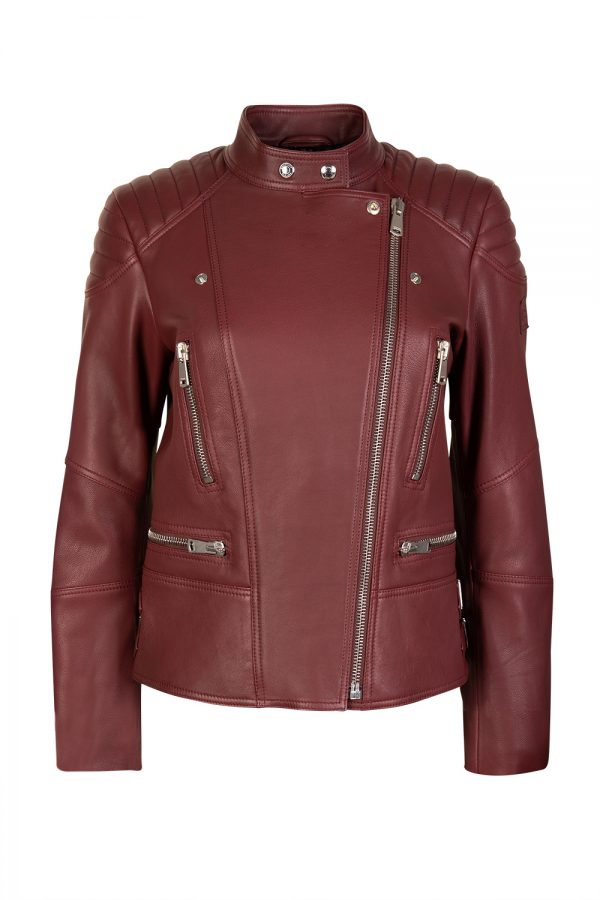 Belstaff Sidney 3.0 Women's Leather Biker Jacket Dark Carnelian