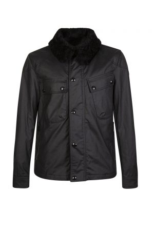 Belstaff Men's Patrol Waxed Jacket With Shearling Black