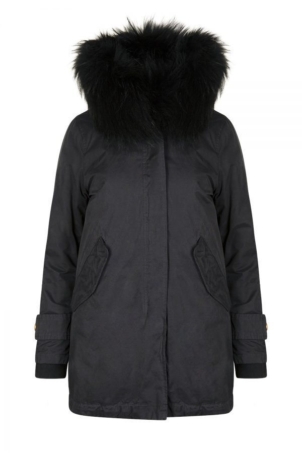 Aktual Women's Madame Parka Coat Black - New W19 Collection