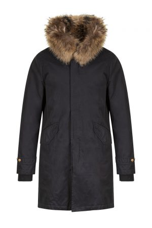Aktual Men's King Parka Coat Black