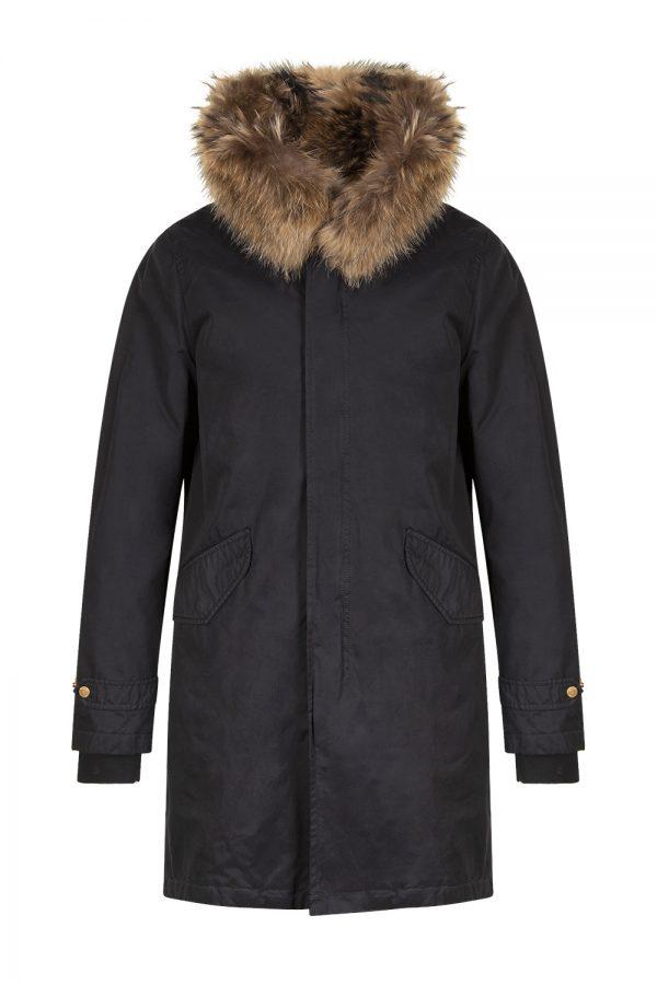 Aktual Men's King Parka Coat Black