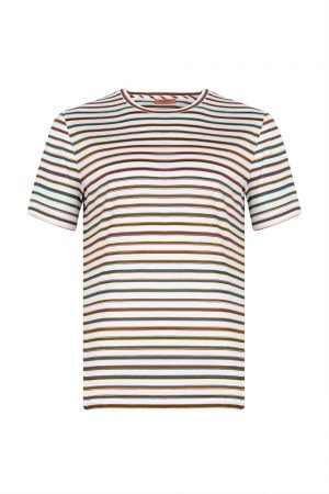 Missoni Men's Horizontal Small Stripe T-shirt Blue - New S20 Collection