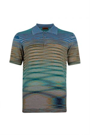 Missoni Men's Short Polo Shirt Blue