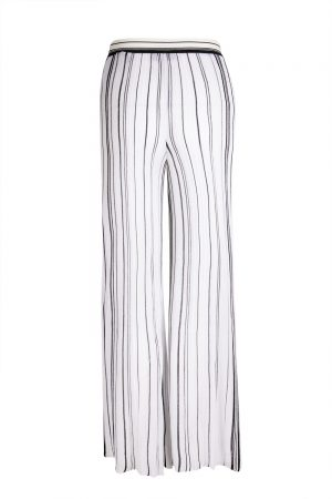 Missoni Women's High Rise Long Trousers White with black stripes- New S20 Collection