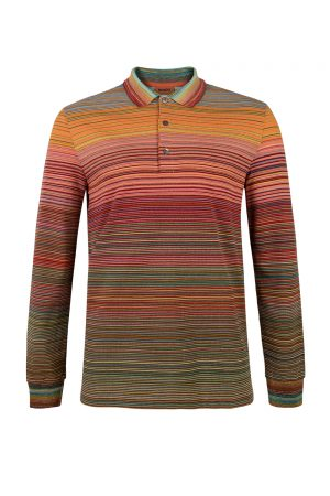 Missoni Men's Long Sleeve Polo Shirt Orange - New S20 Collection