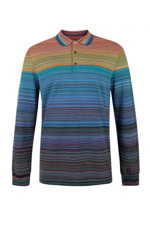 Missoni Men's Long Sleeve Polo Shirt Blue - New S20 Collection