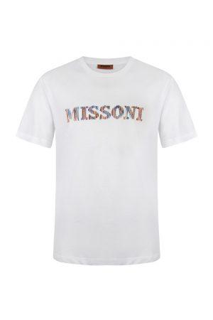 Missoni Men's Colour Stitch Logo Cotton T-shirt White - New S20 Collection