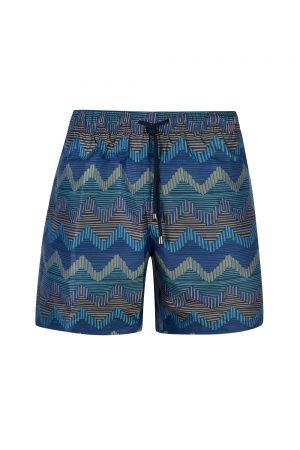 Missoni Men's Wave Pattern Swim Shorts Blue - New S20 Collection