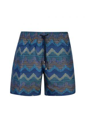 Missoni Men's Wave Pattern Swim Shorts Blue - New S20 Collection