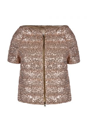 Herno Women's Short Sleeve Sequin Jacket Gold
