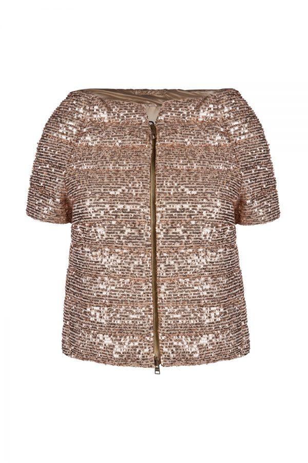 Herno Women's Short Sleeve Sequin Jacket Gold
