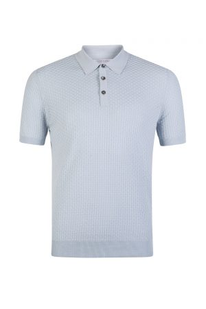 Gran Sasso Knit Polo Brick Stitch Light Blue - New S20 Collection