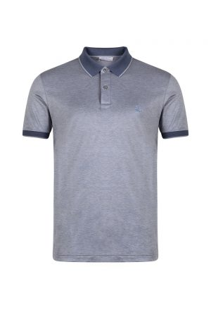 Gran Sasso Mercerized Cotton Jersey Polo Shirt Blue