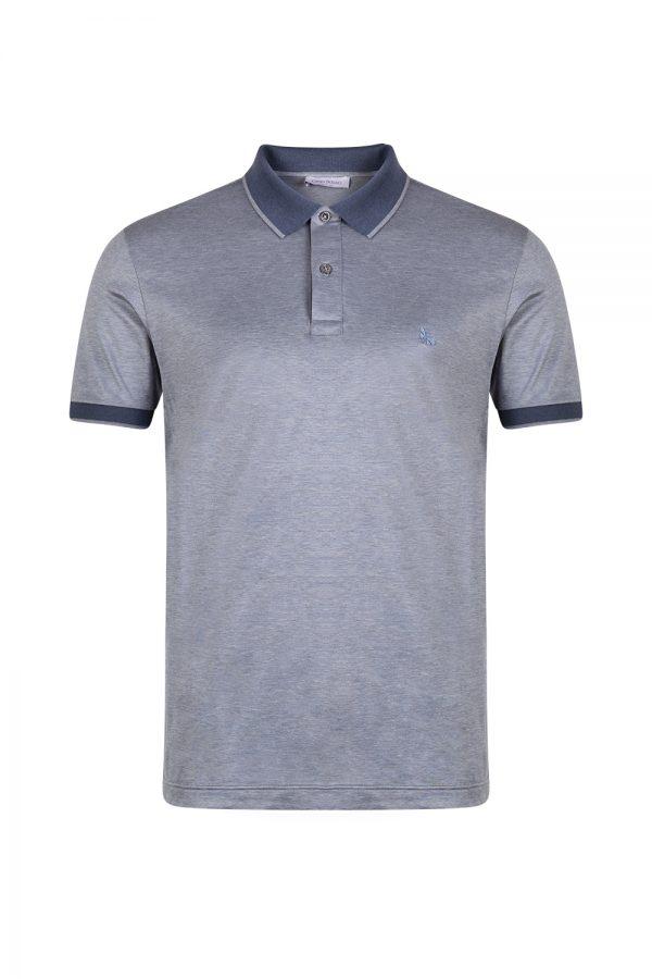 Gran Sasso Mercerized Cotton Jersey Polo Shirt Blue