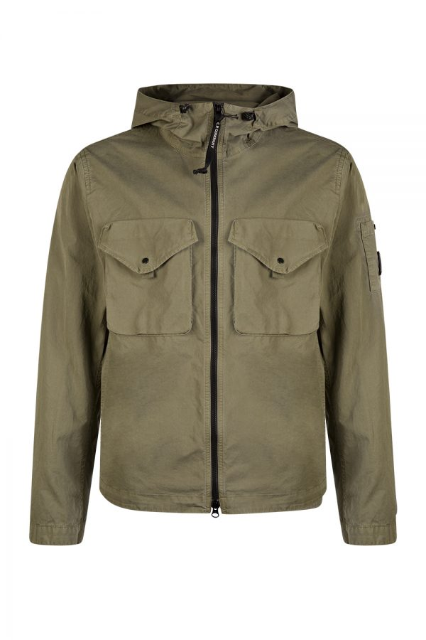 C.P. Company Men's Cotton Twill Hooded Overshirt Olive