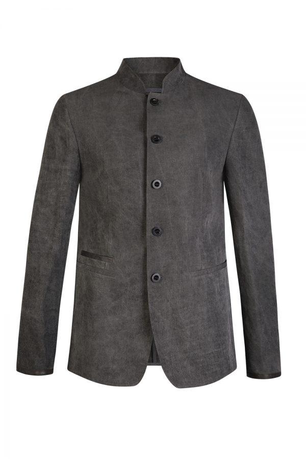 John Varvatos Men's Stand Collar Jacket Grey