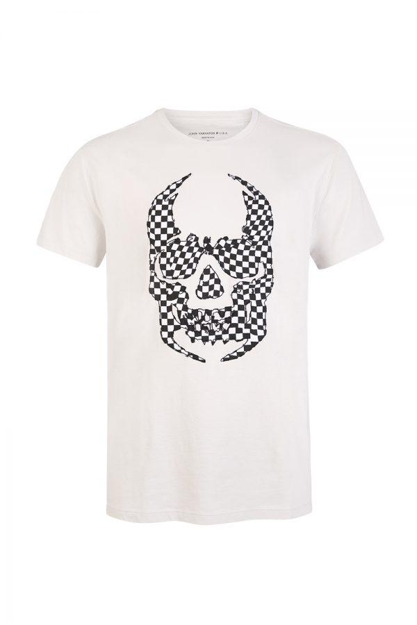 John Varvatos Skull Crewneck T Shirt White