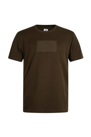 C.P. Company Jersey 30/1 Label Logo T Shirt Khaki - New S20 Collection