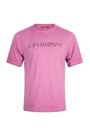 C.P. Company Re-Colour Malfilé Jersey Faded Logo T-Shirt Pink - New S20 Collection