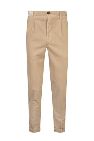 Incotex Men's Slim Fit Stretch Cotton Garbadine Trousers Beige
