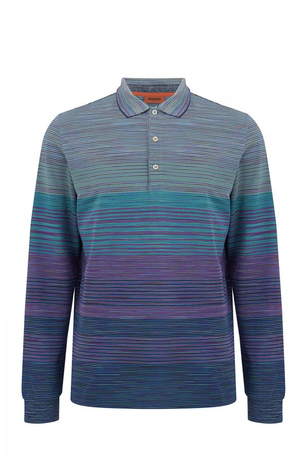 Missoni Men's Long Sleeve Polo Shirt Green - New W20 Collection