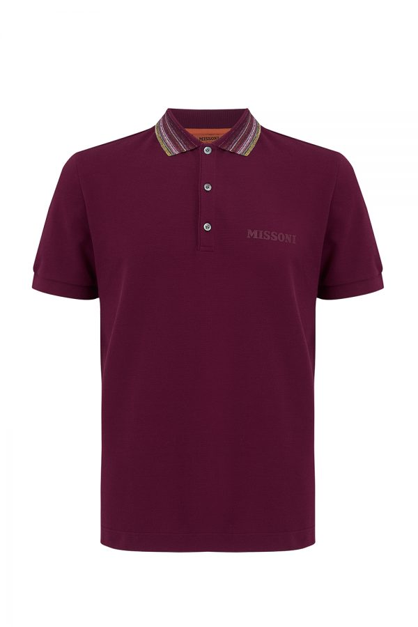 Missoni Men's Short Sleeve Colour Collar Polo Shirt Purple - New W20 Collection