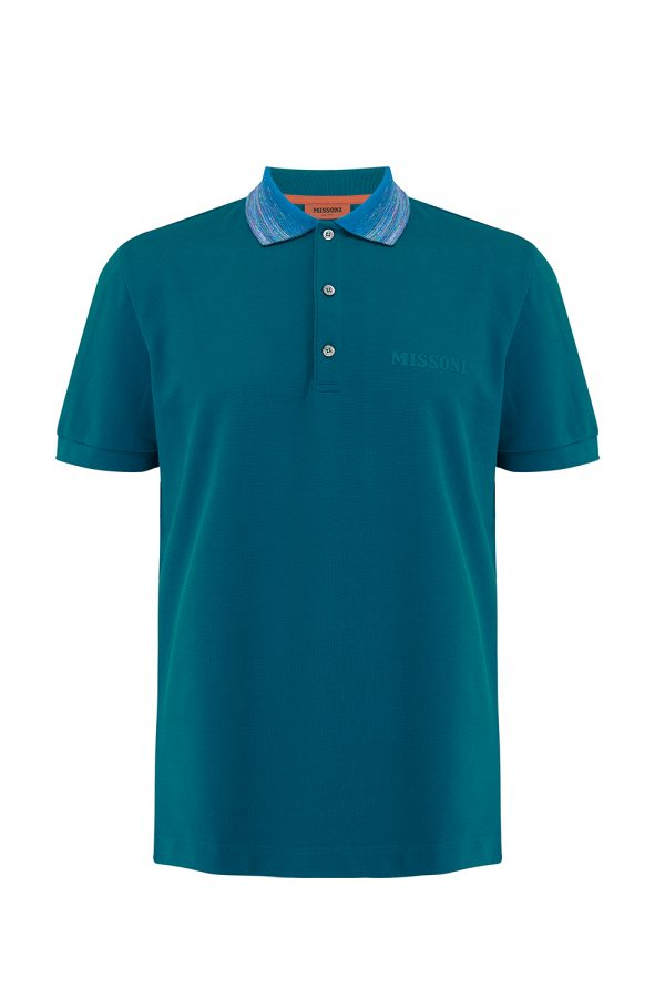 Missoni Men's Short Sleeve Colour Collar Polo Shirt Navy- New W20 Collection