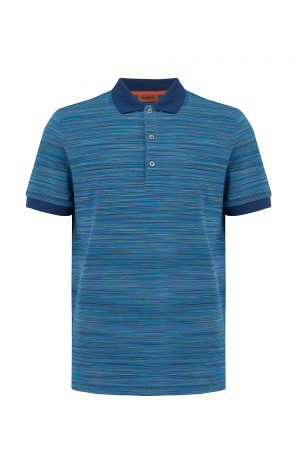 Missoni Men's Short Sleeve Polo Shirt Blue - New W20 Collection