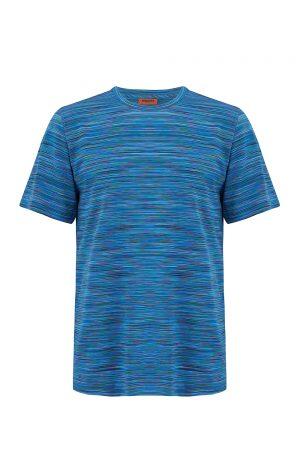 Missoni Men's Short Sleeve Cotton T-Shirt Blue - New W20 Collection