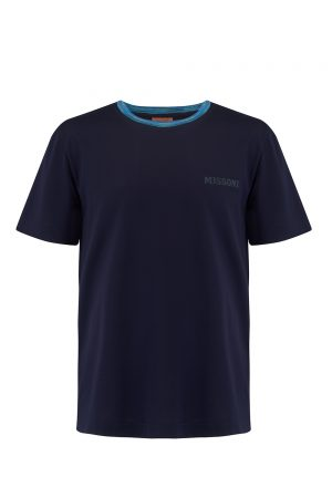 Missoni Men's Short Sleeve Crew T-Shirt Navy- New W20 Collection