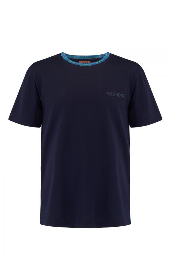 Missoni Men's Short Sleeve Crew T-Shirt Navy- New W20 Collection