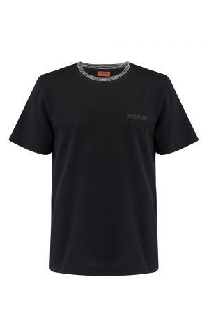 Missoni Men's Short Sleeve Crew T-Shirt Black- New W20 Collection