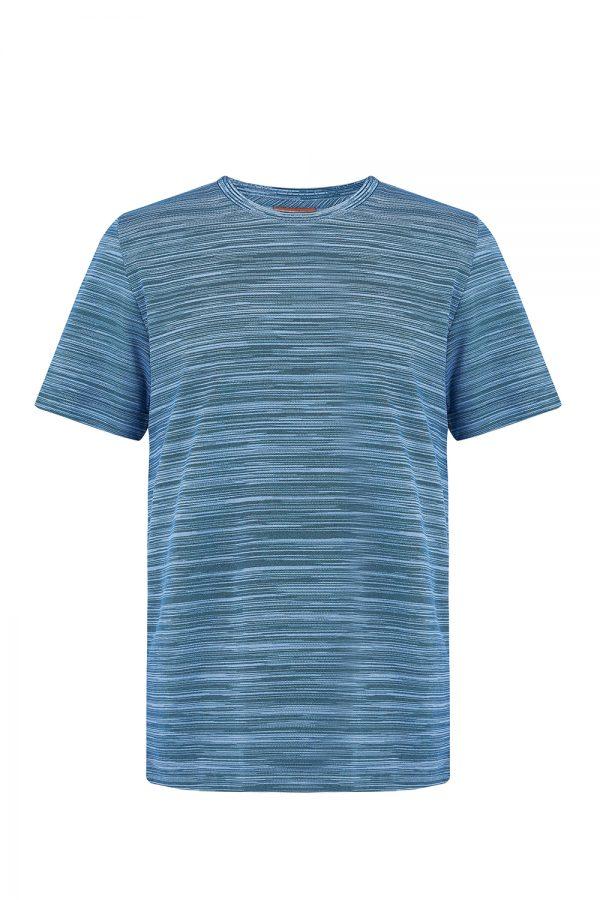 Missoni Men's Short Sleeve Stripe T-Shirt Blue - New W20 Collection