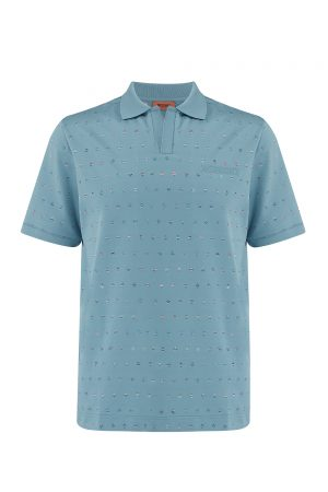 Missoni Men's Short Sleeve Golf Polo Shirt Blue - New W20 Collection