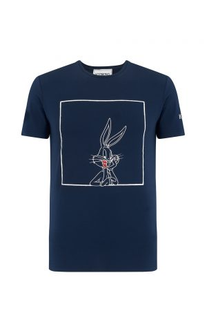 Iceberg Men's Short Sleeve Bugs Bunny T Shirt Navy - New W20 Collection