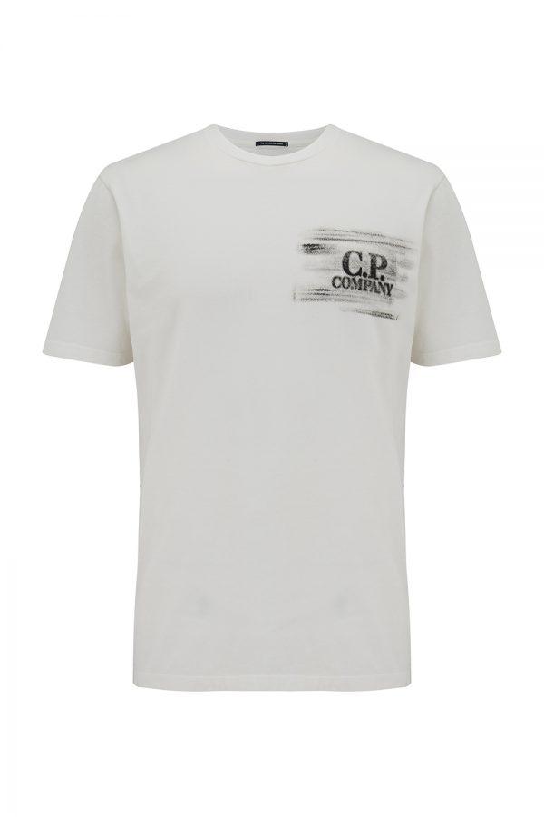 C.P. Company Metropolis Series Men's Hand-printed Logo T-shirt White - New SS21 Collection