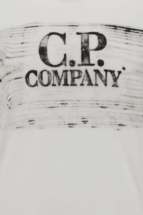 C.P. Company Men's Distressed Logo T-shirt White - New SS21 Collection