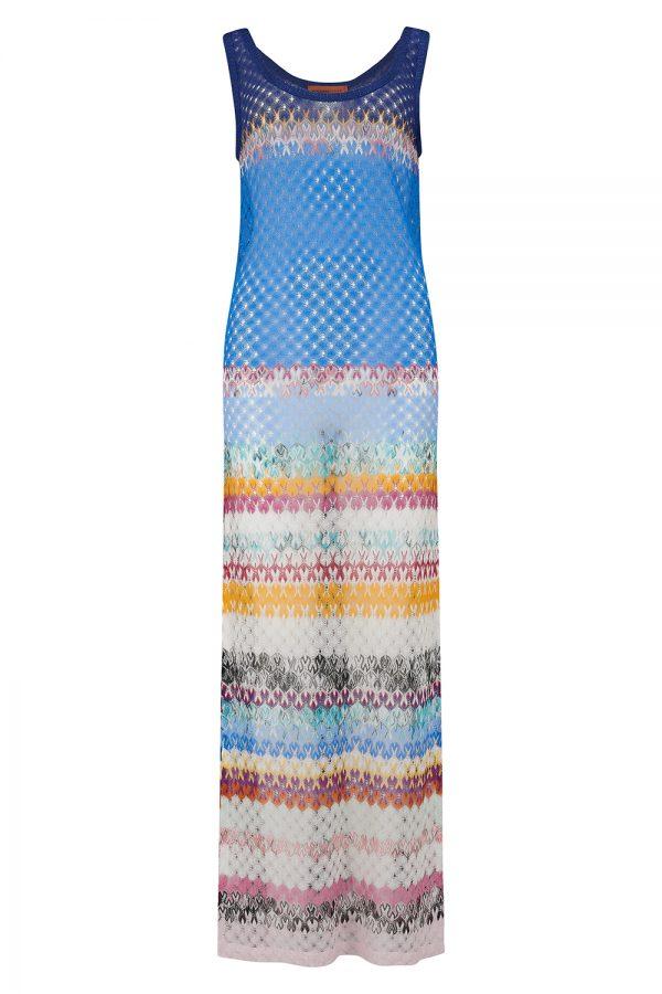 Missoni Women's Wave Pattern Maxi Dress Blue - New SS21 CollectionMissoni Women's Wave Pattern Maxi Dress Blue - New SS21 Collection